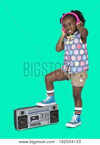 Little Girl Listening Music Headphones Radio Studio Portrait