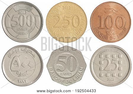 Full set of Lebanese coins isolated on white background poster