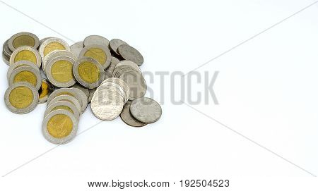 1, 2, 5, 10 coin Thai baht isolated on white background