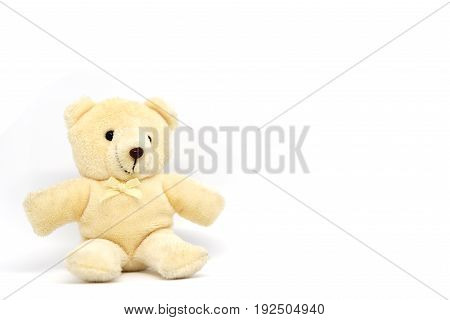 Cream color teddy bear isolated on white background
