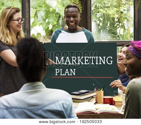 Business Marketing Plan Goal Setting Strategy Graphic