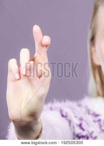 Woman Hand Crossing Fingers, Making Promise Gesture