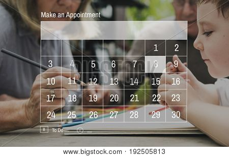 Illustration of calendar appointment schedule organizer