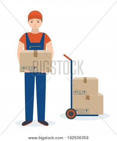 Delivery man  with cardboard box and push cart. Isolated on white background. Flat style, vector illustration.