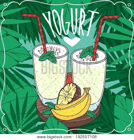 Two Yogurts With Fresh Tropical Fruits