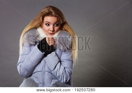Woman Wearing Winter Warm Furry Jacket