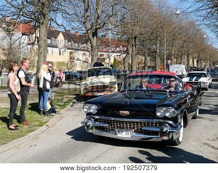 NORRKOPING, SWEDEN - MAY 1, 2017: Cadillac Series 62, 1958, cabriolet at vintage car parade in Norrkoping. This parade started in 1974 and has become an annual tradition on May Day.