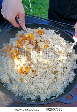 a very tasty pilau on the plate