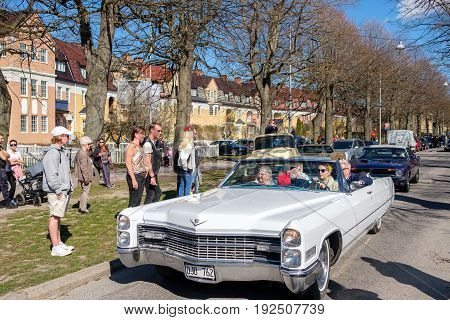 NORRKOPING, SWEDEN - MAY 1, 2017: Cadillac De Ville, 1966, cabriolet at vintage car parade in Norrkoping. This parade started in 1974 and has become an annual tradition on May Day.
