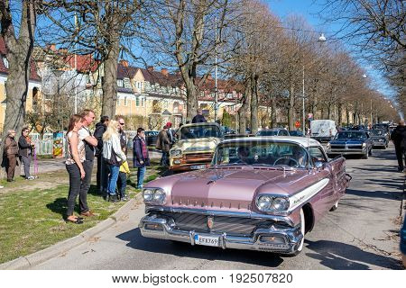 NORRKOPING, SWEDEN - MAY 1, 2017: Oldsmobile 88, 1958 at vintage car parade celebrates spring in Norrkoping. This parade started in 1974 and has become an annual tradition on May Day.