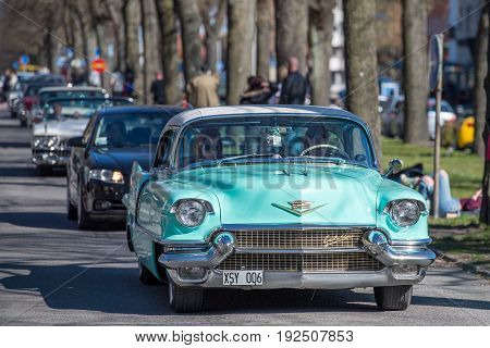 NORRKOPING, SWEDEN - MAY 1, 2017: Cadillac Eldorado Seville, 1956 at vintage car parade in Norrkoping. This parade started in 1974 and has become an annual tradition on May Day.