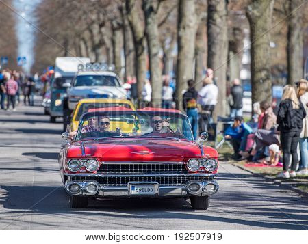 NORRKOPING, SWEDEN - MAY 1, 2017:Cadillac Eldorado, 1959, cabriolet at vintage car parade in Norrkoping. This parade started in 1974 and has become an annual tradition on May Day.