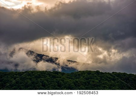 Gorgeous Cloudscape Over The Mountains At Sunrise