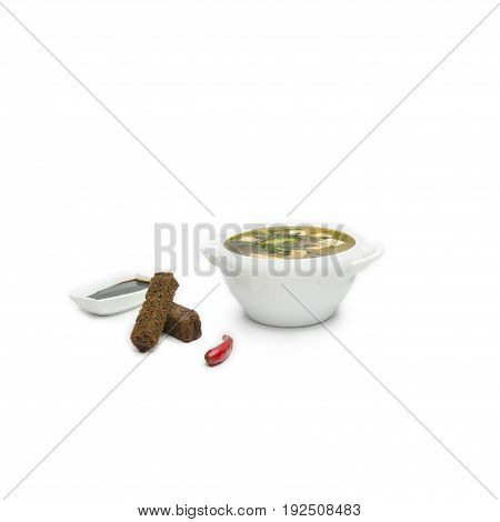 Japanese Cuisine - Miso Soup with Seaweed, Mushrooms and Tofu Cheese isolated. soybean, red pepper