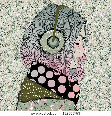 beautiful girl with headphones and long hairs. vector illustration