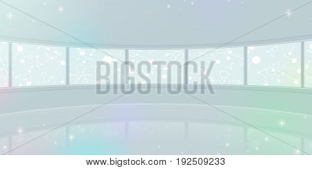 panorama wide background Chemical symbol monitor design