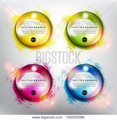 Abstract vector banner set of 4. Transparent water drops on the hand drawn swirl design. Colorful and isolated on the light panel. Each item contains space for own text. Vector illustration. Eps10.