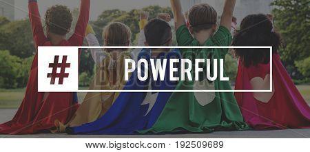 Superhero Kids Powerful Strength Word Graphic