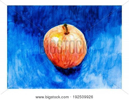 Red apple on deep blue background in style of impressionism. Colorful bright garden fruit. Watercolor, paper.