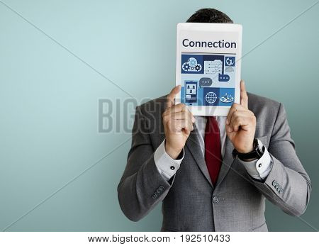 Man holding digital device network graphic overlay