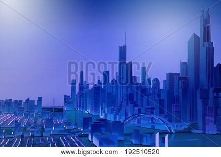 blue simplified city with river. 3d rendering