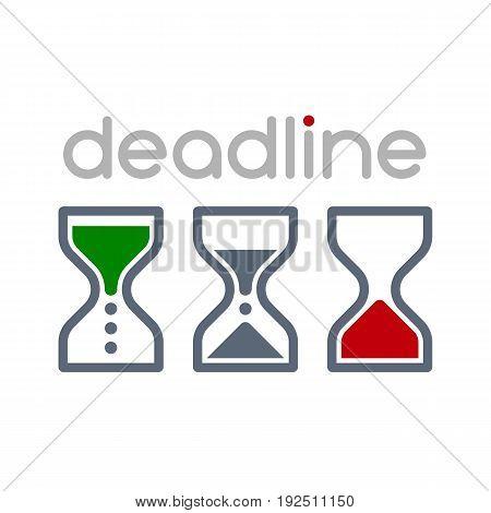Hourglass time management business icons set. Deadline animated sandclock vector eps10 illustration.