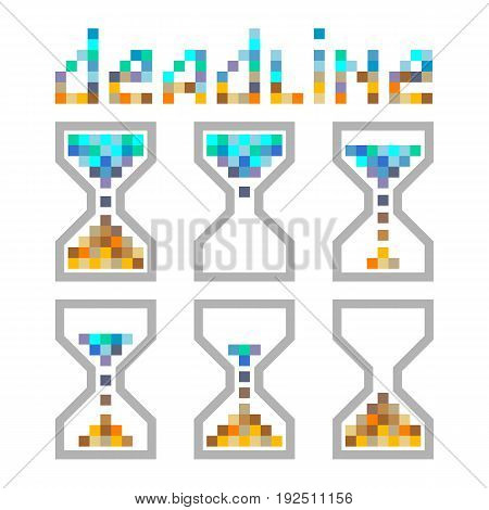 Hourglass time management business colours icons set. Deadline animated pixel style sandclock vector eps10 illustration.