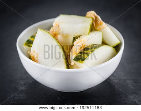 Rustic Slate Slab With Fresh Futuro Melon (selective Focus)