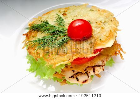 Homemade chicken burger on white background. Potato pancake chicken burger
