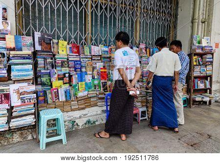 Selling Old Books On Street In Yangon, Myanmar.