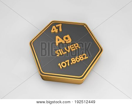 Silver - Ag - chemical element periodic table hexagonal shape 3d render