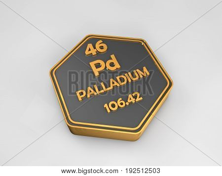palladium - Pd - chemical element periodic table hexagonal shape 3d render