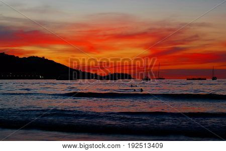 sunset sky red colur at the beach