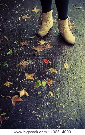 Vintage colour image of old lady or woman boot shoes standing on raining wet dark road with falling green red yellow and brown dry leaves selective focus