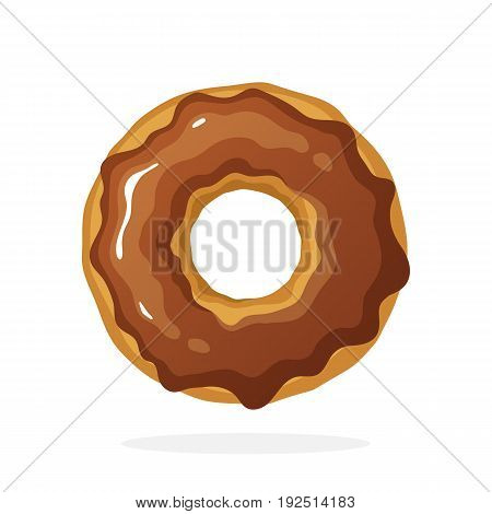 Vector illustration in cartoon style. Donut with chocolate glaze. Decoration for menus, signboards, showcases