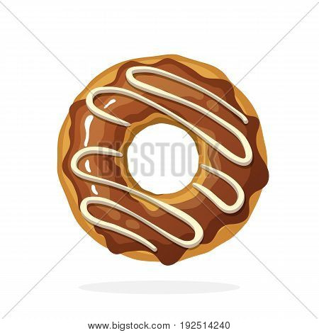 Vector illustration in cartoon style. Donut with chocolate glaze and caramel. Decoration for menus, signboards, showcases