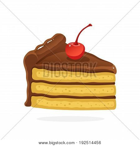 Vector illustration in cartoon style. А piece of cake with chocolate cream and cherry. Decoration for menus, signboards, showcases