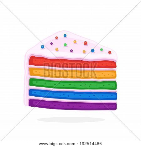 Vector illustration in cartoon style. А piece of rainbow cake with glaze cream and colored sugar dragees. Decoration for menus, signboards, showcases