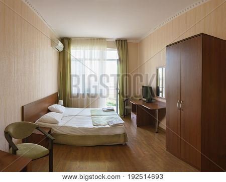 Interior Of A Hotel Room Economy Class Double Bed
