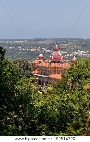 a landscape of palace Monserrate in Portugal