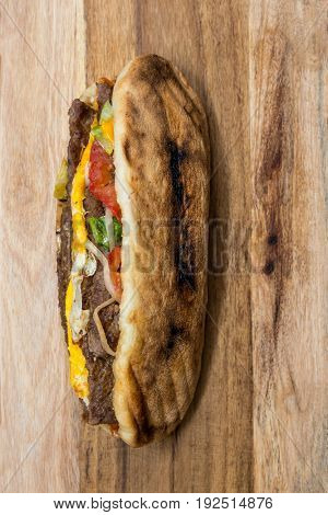 beef steak Sandwich, cheese and golden French fries potatoes