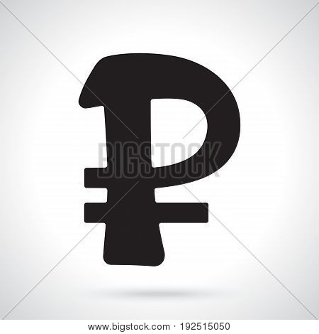 Vector illustration. Silhouette of ruble sign. The symbol of world currencies