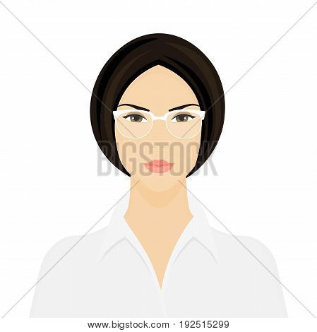 Business Woman with glasses. The headmistress. Portrait of a serious girl on a white background. Vector illustration