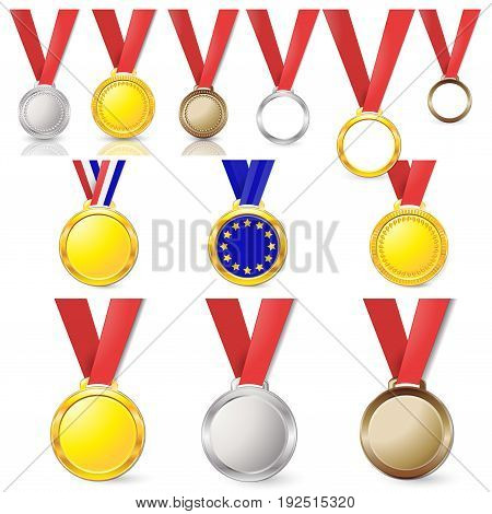 Medals Gold Silver Bronze Copper On A Red Ribbon Isolated On Background