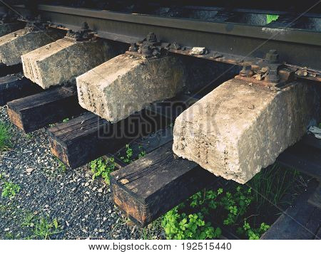 Recycling Company Stock. Rail Platform With Extracted  Old Rails And Sleepers