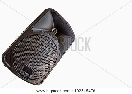 Black Audio Speaker Isolated on White Background Front View
