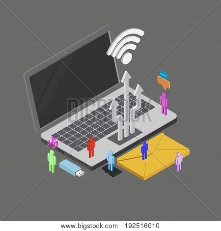 Isometric people using internet around, electronic devices, social media, social network, vector illustration.