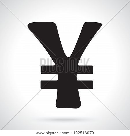 Vector illustration. Silhouette of yen and yuan sign with two line. The symbol of world currencies