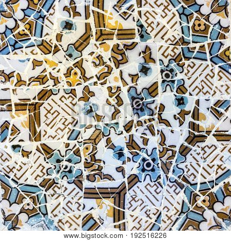 mosaic tile decoration broken glass, Barcelona Spain.