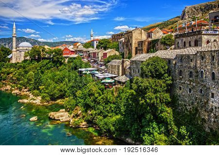 MOSTAR, BOSNIA - MAY 18 2017: Mostar mosque in old town Bosnia and Herzegovina